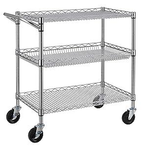 Heavy Duty 3 Tier Rolling Utility Cart, Kitchen Metal Utility Cart with Handle Bar, Utility Shelf Plant Display Shelf Food Storage Trolley with Wheels