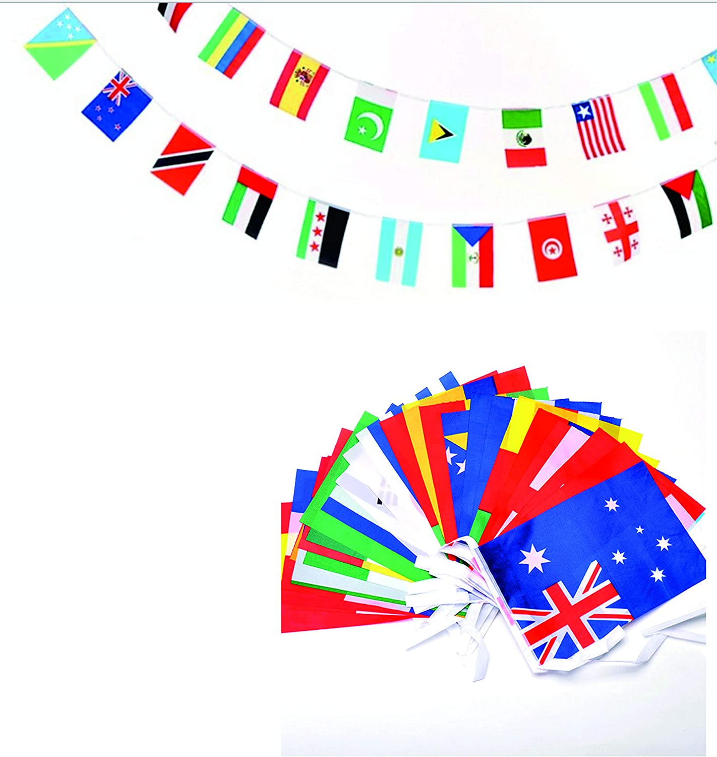 XCFH International Flags, 82 Feet 8.2'' x 5.5'' World Flags, 100 Countries Olympic Flags Pennant Banner for Bar, Party Decorations, Sports Clubs, Grand Opening, Festival Events Celebration…
