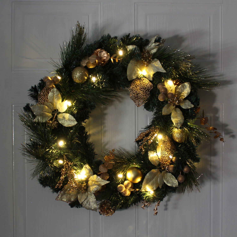 WeRChristmas colore: giallo oro luce bianca calda diametro: 60 cm Ghirlanda natalizia decorativa illuminata da 20 LED