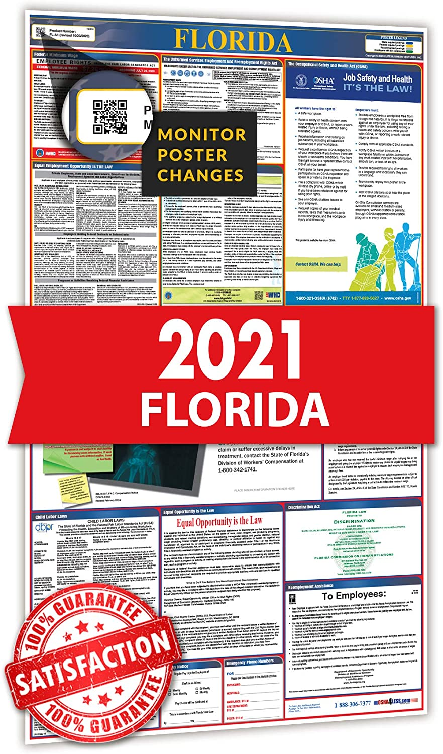 2021 Labor Law Poster - All in One State and Federal Labor Law Poster for Workplace Compliance, Florida FL