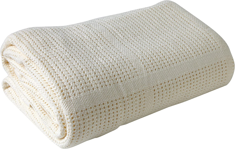 Clair de Lune Pram /& Travel Extra Soft Cotton Cellular Baby Blanket