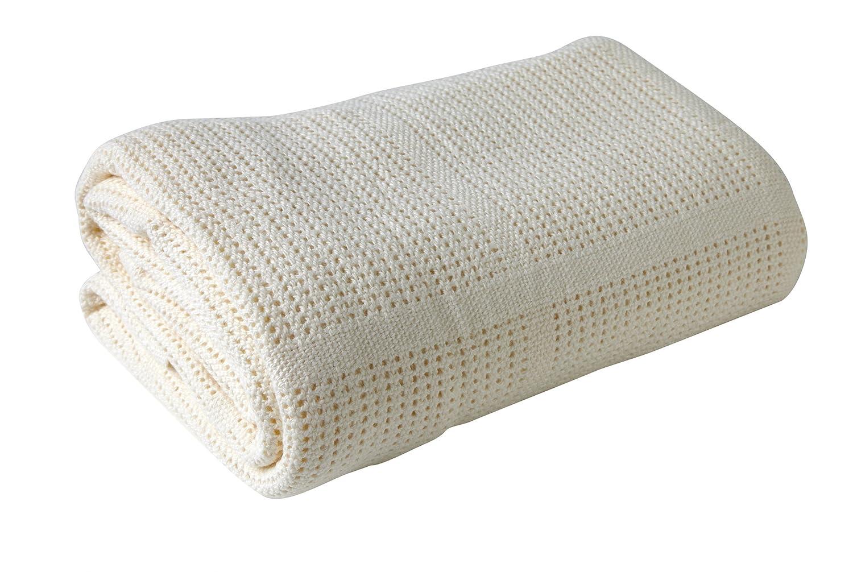 Clair de Lune Pram & Travel Extra Soft Cotton Cellular Baby Blanket (Cream) CL4982C