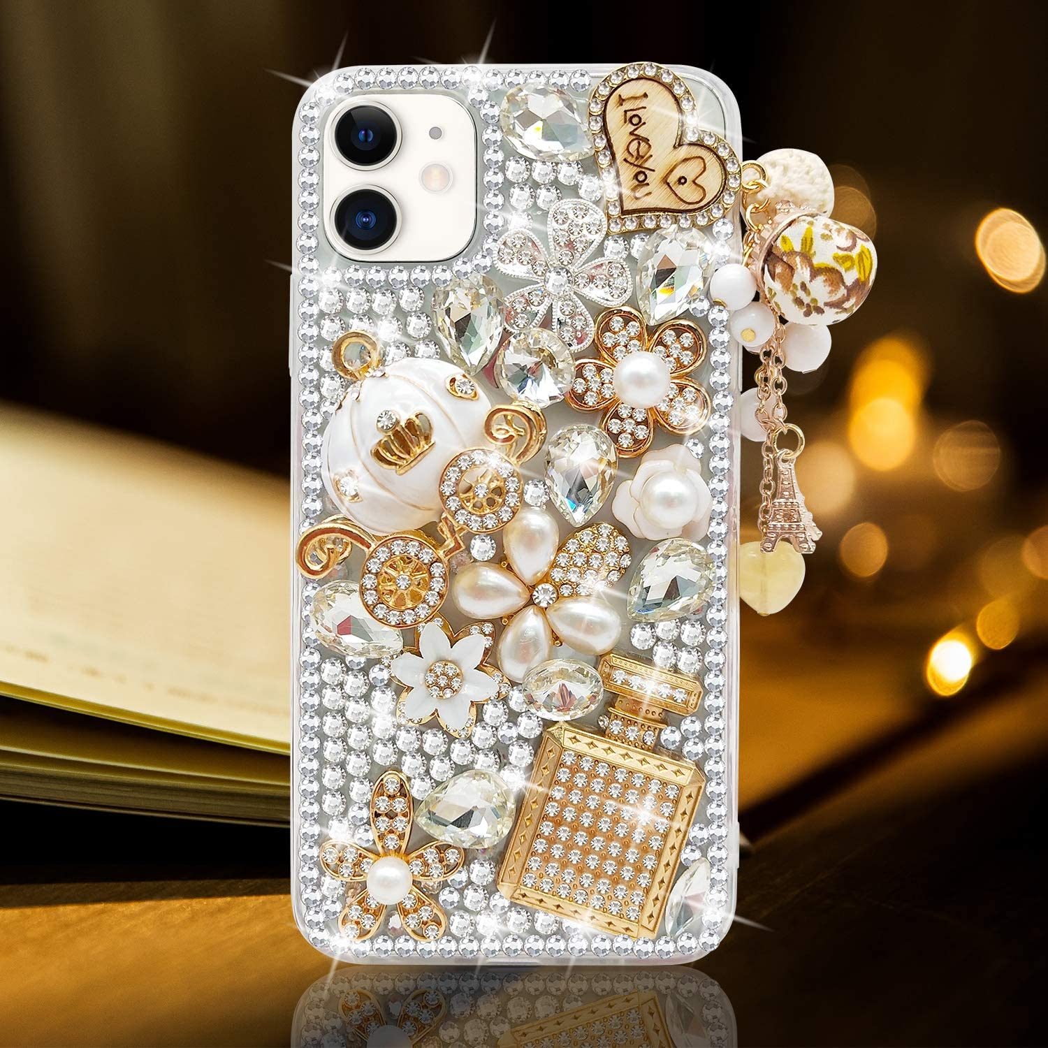 Guppy for iPhone 11 Case Women Luxury 3D Bling Shiny Rhinestone Diamond Crystal Pearl Handmade Pendant Iron Tower Pumpkin Car Flowers Soft Protective Anti-Fall Case for iPhone 11