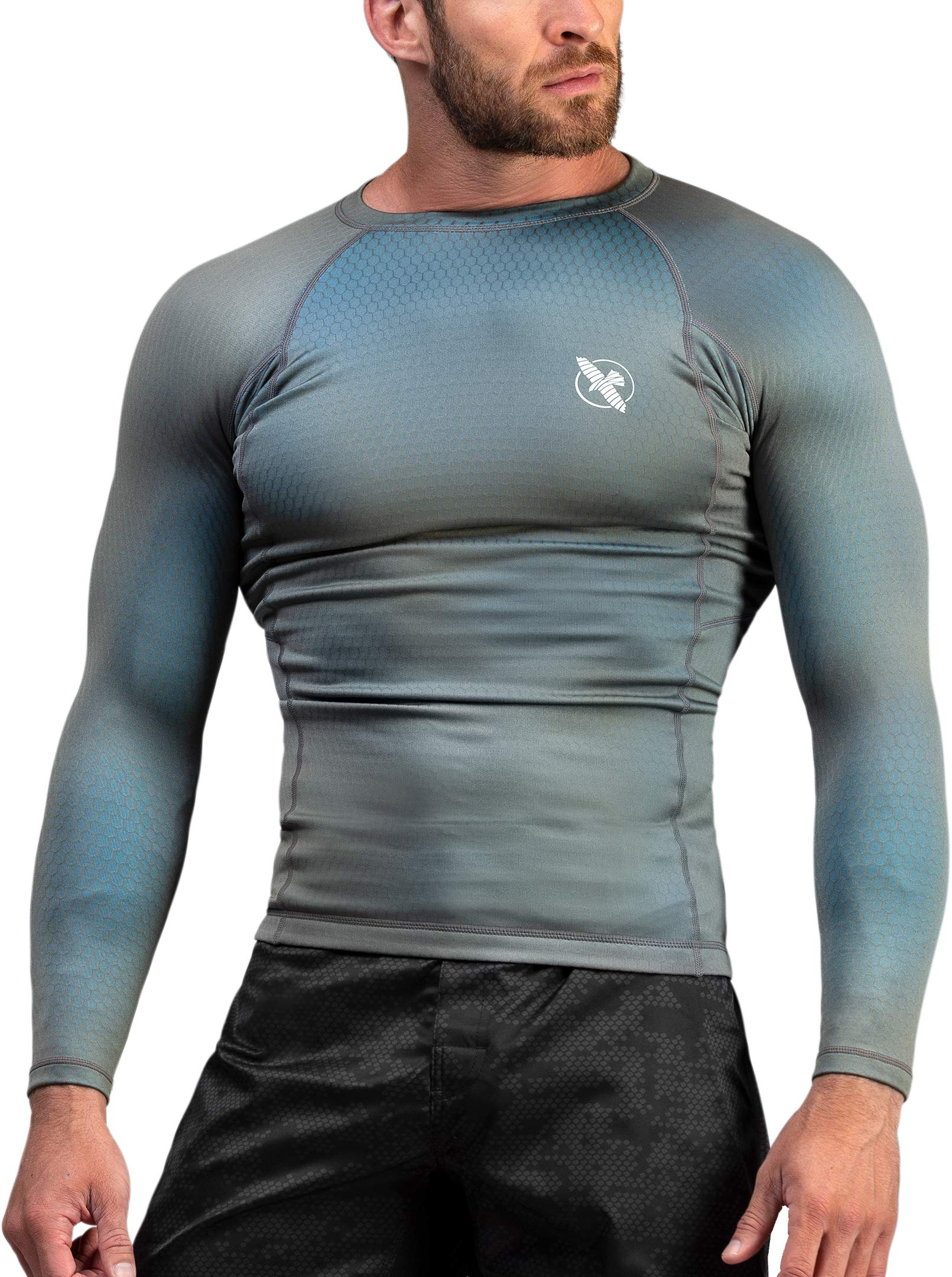 Hayabusa | Men's Fusion Long Sleeve BJJ Rash Guard | Grey/Aqua | L by Hayabusa