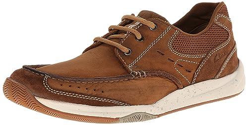 45cecc95f77 Clarks MEN Allston Edge Tan Leather Brown 7.5 SNEAKER: Amazon.co.uk ...