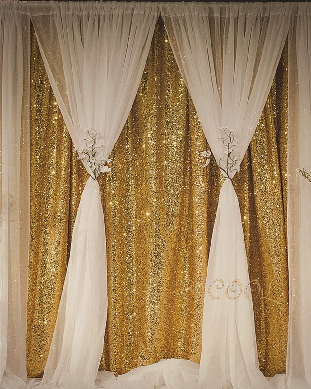 B-COOL Sequin Backdrop Gold 4ft x 6.5ft Sequin Photography Backdrop Wedding Photo Booth Backdrop Photography Background for wedding/Party/Photography/Curtain/Birthday/Christmas/Prom/Other Event Decor by B-COOL