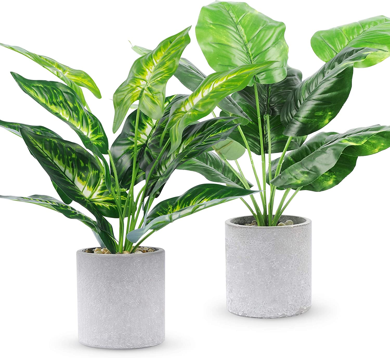 WUKOKU 2pcs Fake Plants Small Artificial Potted Plants Office Plants for Home Farmhouse Bathroom Bedroom Kitchen Desk Decor