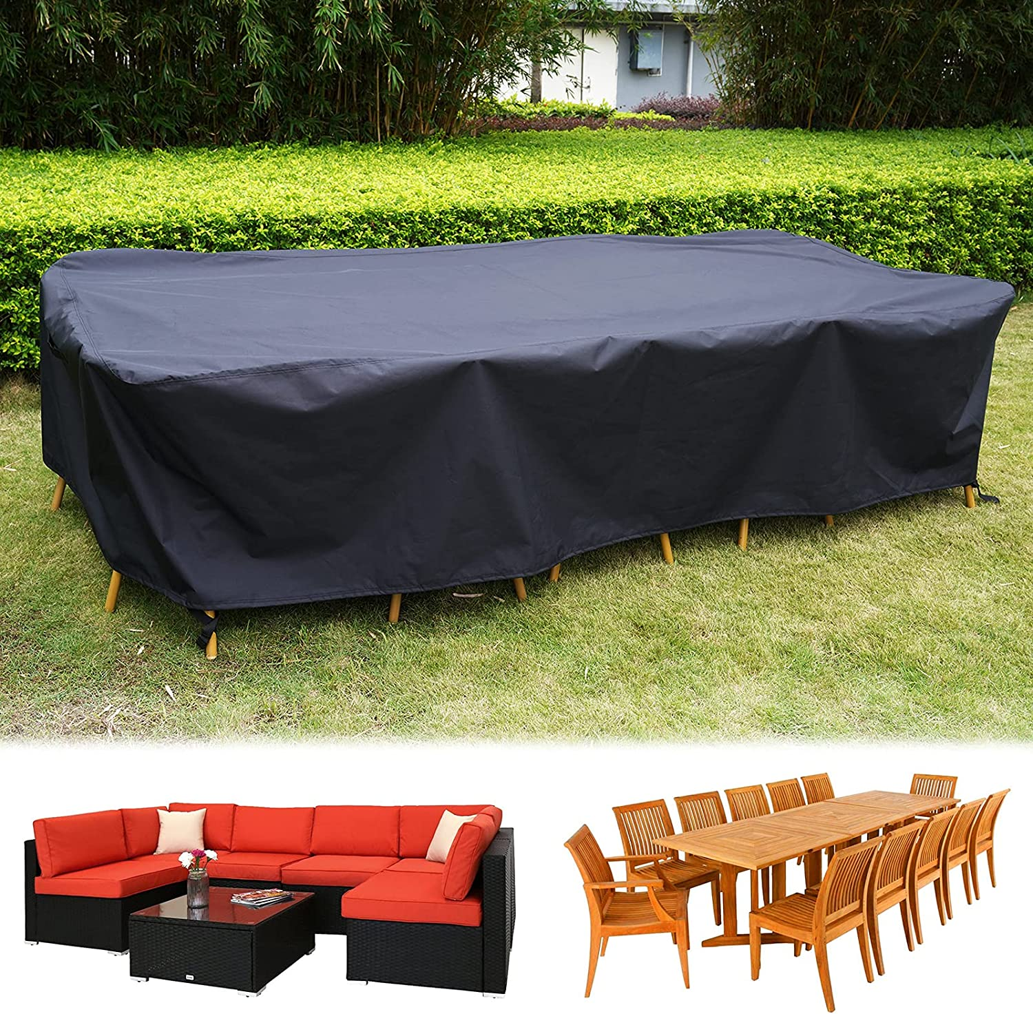 126 Inch Outdoor Waterproof Furniture Cover, Large Size Rectangular Cover for 6-8 Seats Sofa Furniture Set, 300D Heavy-duty Windproof Dining Table Chair Set Protective Cover, 126