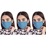 Stylore 3 Pcs Cotton Daily Face Mask Washable Reusable Two Layer Plain Turquoise
