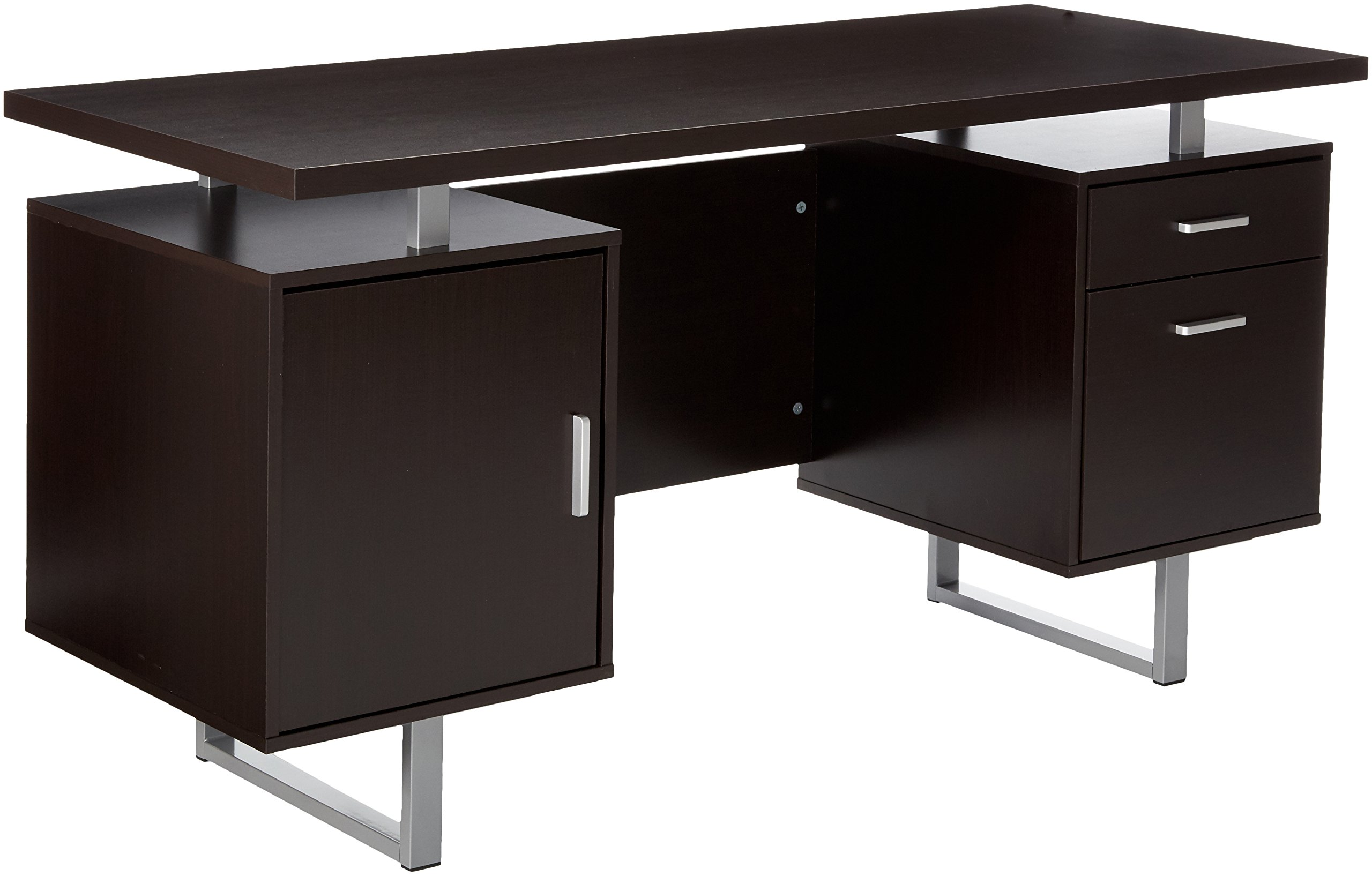Glavan Double Pedestal Office Desk with Metal Sled Legs and Floating Desk Top Cappuccino by Coaster Home Furnishings