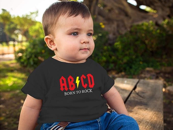 MoonWorks/® Baby T-Shirt Kurzarm Babyshirt Born to Rock ABCD Hardrock Jungen M/ädchen Shirt