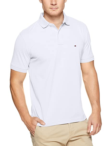 Core Tommy Regular, Polo para Hombre, Blanco (Bright White 100), Large Tommy Hilfiger