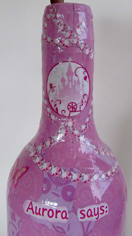 Nels Crafty Goods Handmade Disney PrincessAurora Decorative Up-cycled Wine Bottle with Pom Pom Flower Home Decor Gift