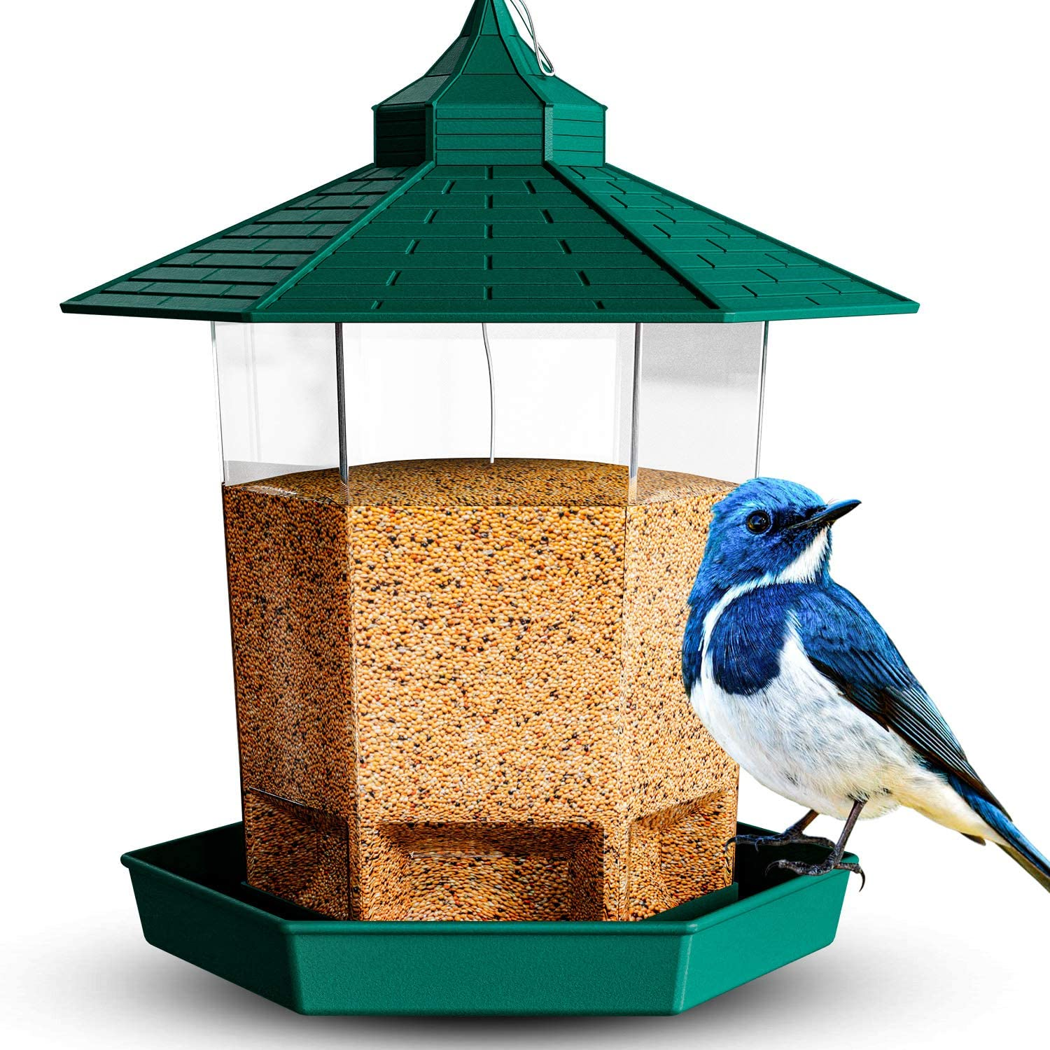Hanging Hopper Bird Feeder - Can be Used as Decorative Ground Level or Hanging Bird Feeder Outside | Irresistibly Attracts Diverse Array of Beautiful Songbird Species | Durable for All Climates