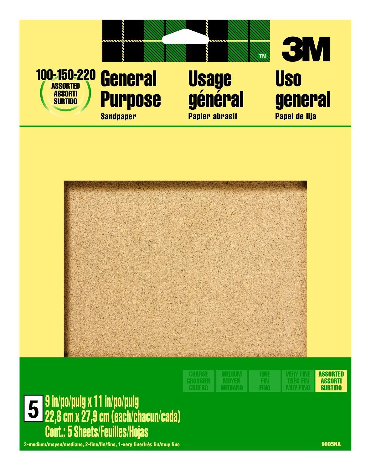 10 Pack Of 3M 9005NA 9-Inch by 11-Inch Aluminum Oxide Sandpaper, Assorted