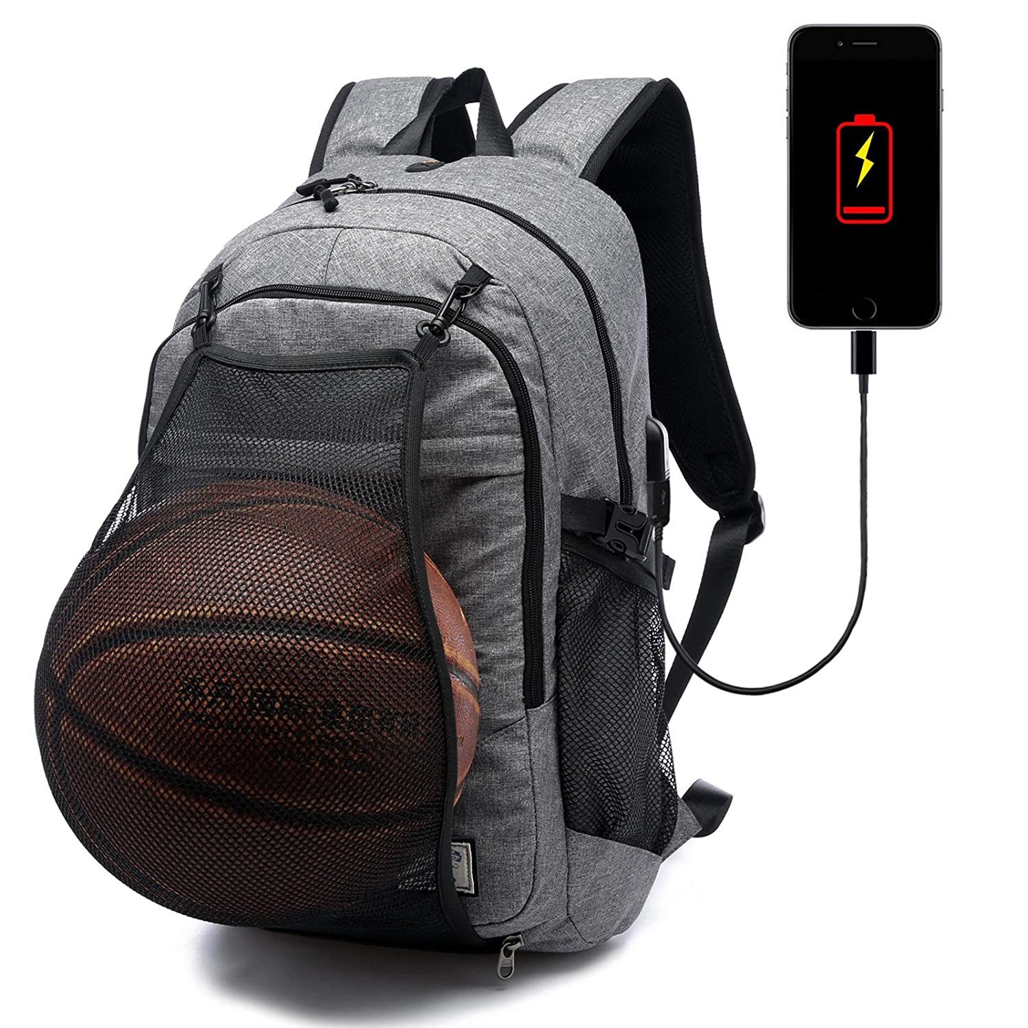 Loiee Business Water Resistant Basketball Backpack with USB Charging Port Fits for Under 17 inches