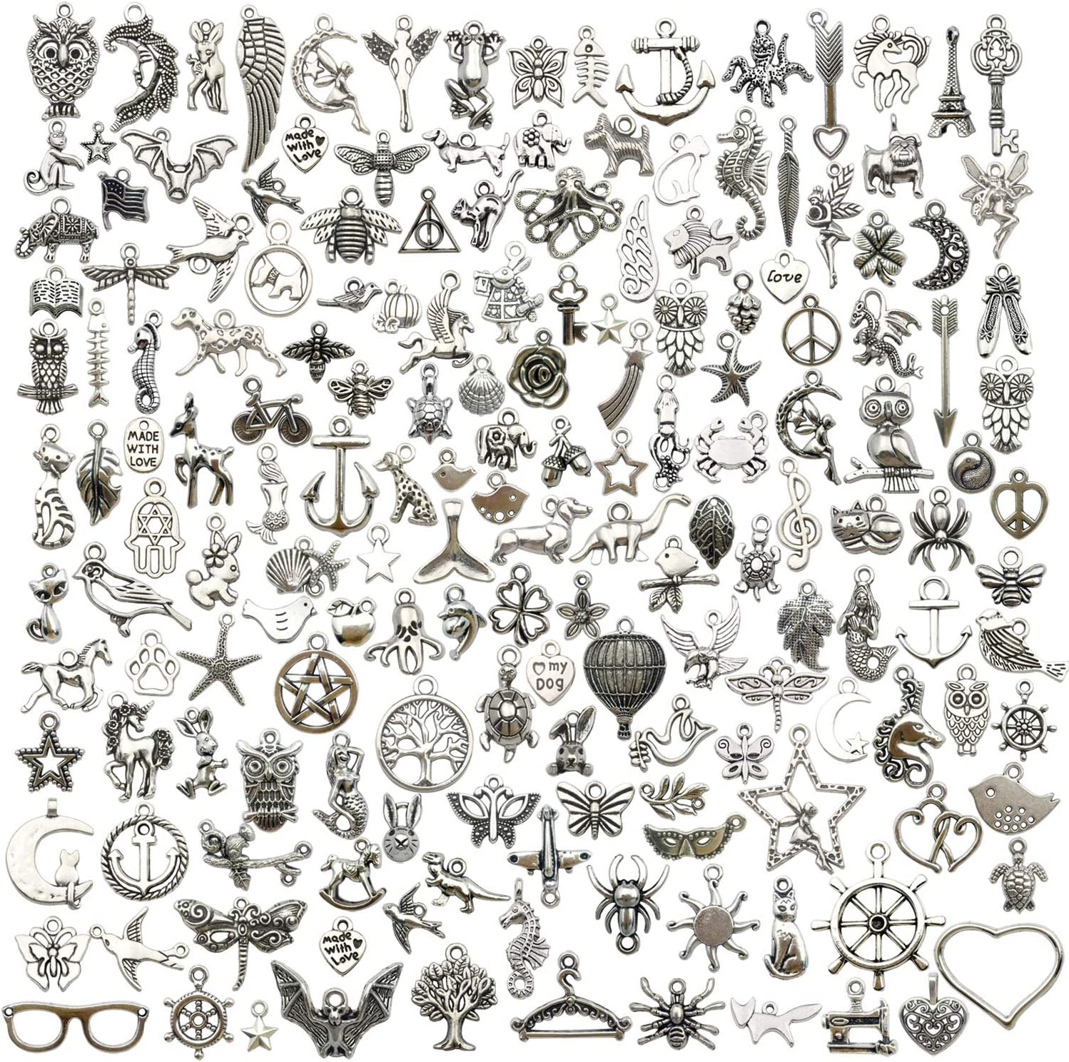 iloveDIYbeads 200 pcs Wholesale Bulk Lots Jewelry Making Charms Mixed Smooth Tibetan Silver Metal Charms Pendants DIY for Jewelry Making Necklace Bracelet and Crafting (M332)