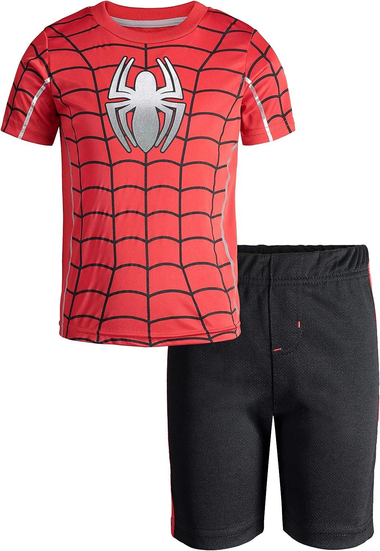 Marvel Avengers Black Panther Spiderman Hulk Boys Athletic T-Shirt /& Mesh Shorts Set
