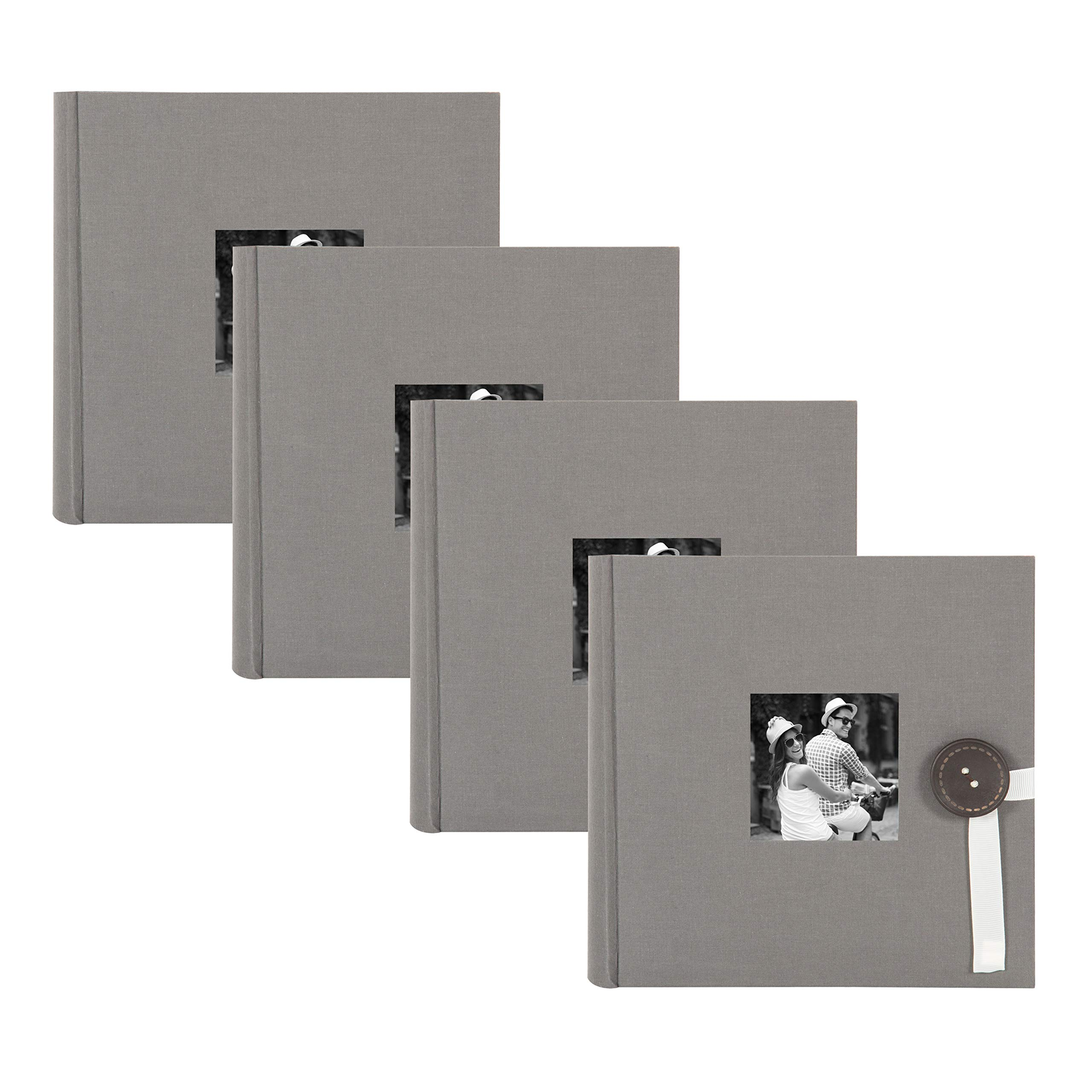 DesignOvation Kim Fabric Photo Albums with Ribbon and Button Closures, Holds 200 4x6 Photos, Set of 4, Gray by DesignOvation