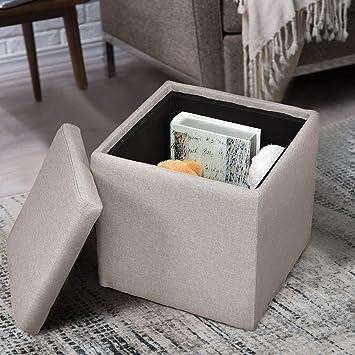 Aufbewahrungsbox Faltbarer Sitzhocker Polsterhocker  Sitzwürfel Sitzbox