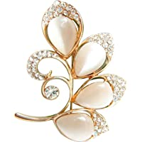 Navachi 18k Gold Plated White Created-Opal Crystal Branches Leaves Brooch Pin
