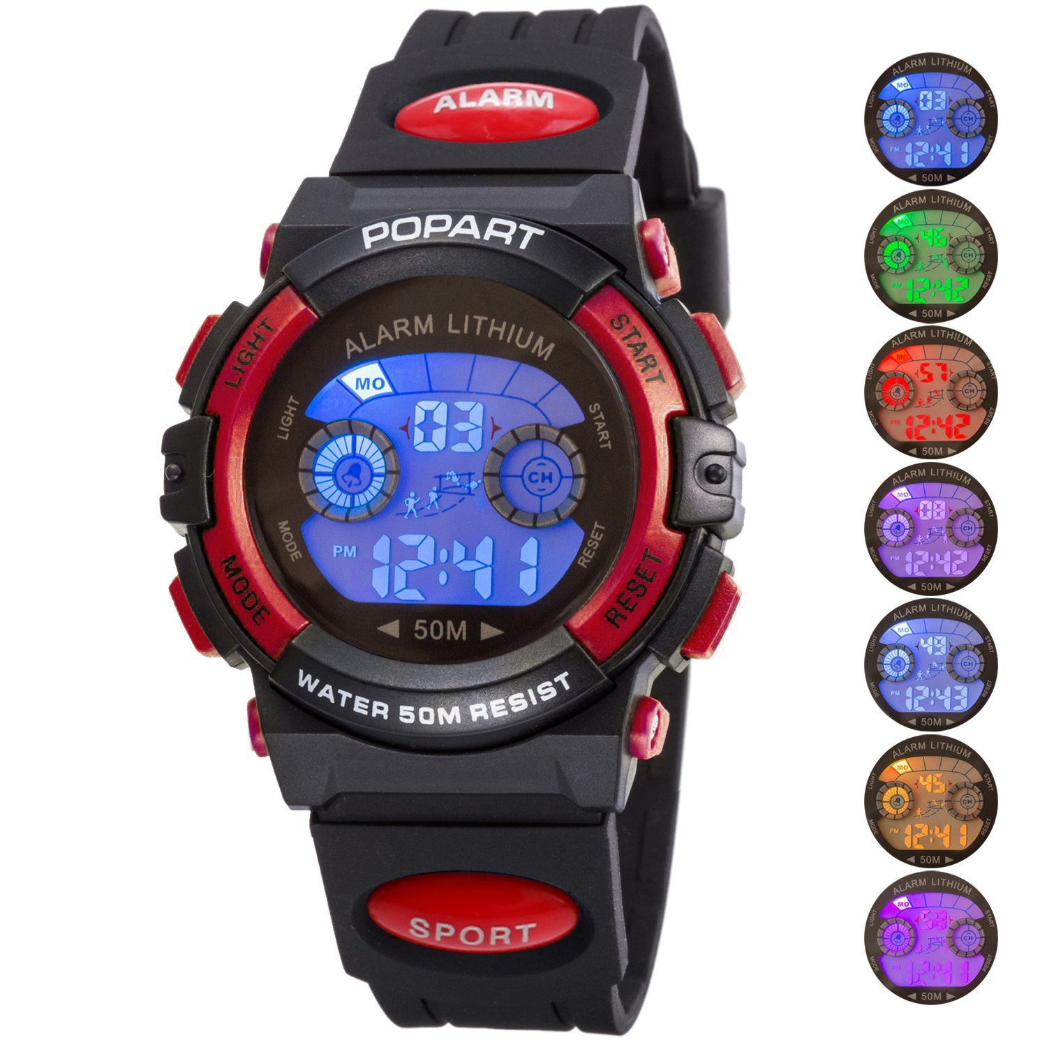 Kid Watch for Child Boy Girl LED Multi Function Sport Outdoor Digital Dress Waterproof Alarm Red