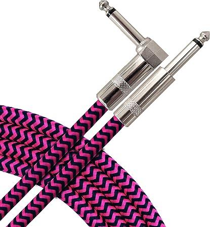 Cable trenzado para guitarra eléctrica sin ruido, 3 m, recto a ...