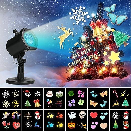 Proyector LED de Navidad, Miric luz de proyector, focos de movimiento de color impermeables con 12 piezas de luces de proyección de paisaje de patrón ...
