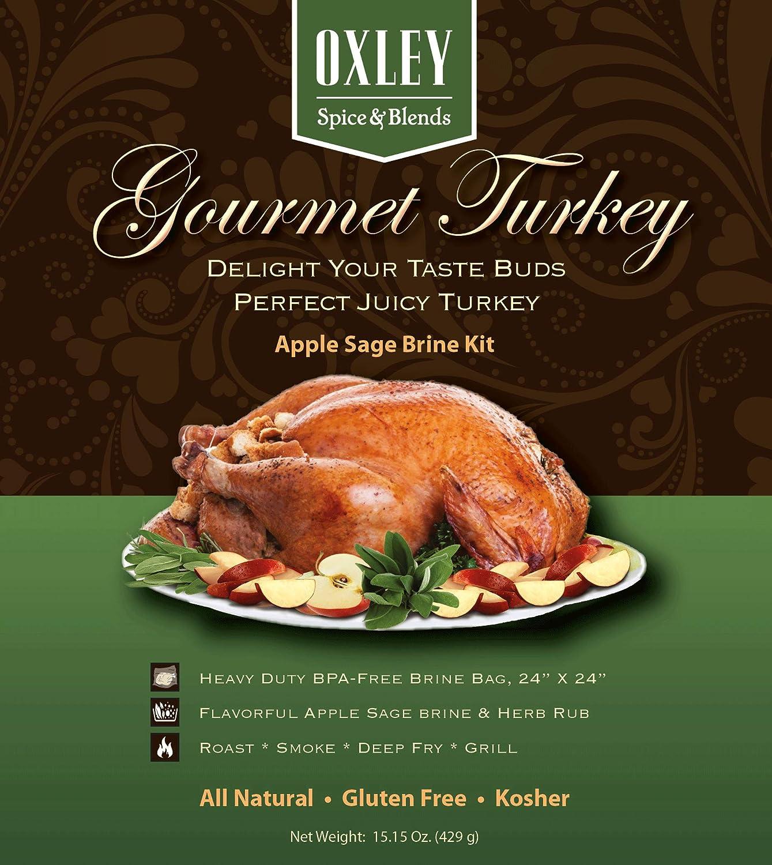 Apple Sage Gourmet Turkey Brine Kit, Includes Brine, Herb Rub and Heavy Duty BPA Free Brine Bag, Brining System For Creating A Fine Dining Experience, Made in USA (Apple Sage)