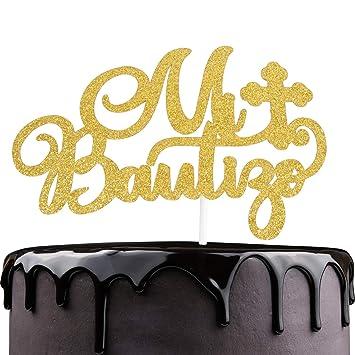 Mi Bautizo Baptism Cake Topper - Religious God Bless Me Cross Cake Décor - Holy First Communion...