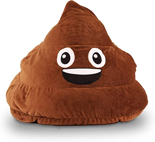 28″ Brown Poop Emoji Bean Bag Funny Emojis Design Beanbag Chair 3D Smiley Face Emoji Sofa Sack Stuffed Comfortable Indoor/Outdoor Fun Kids Gift Dual Zipper Lightweight Polystyrene Beads