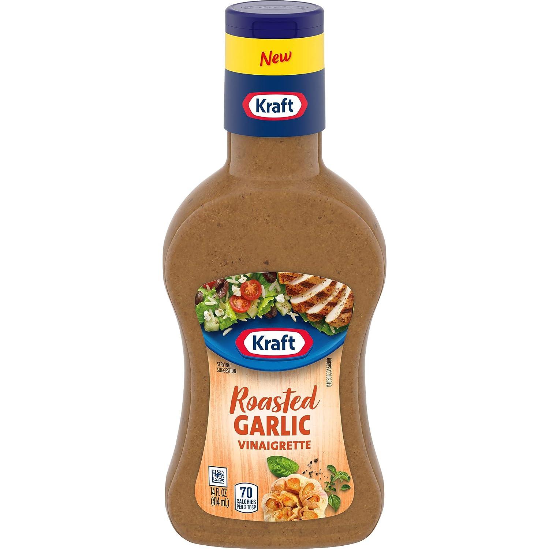 Kraft Roasted Garlic Vinaigrette Salad Dressing, 14 fl. oz. Bottle (Pack of 6)