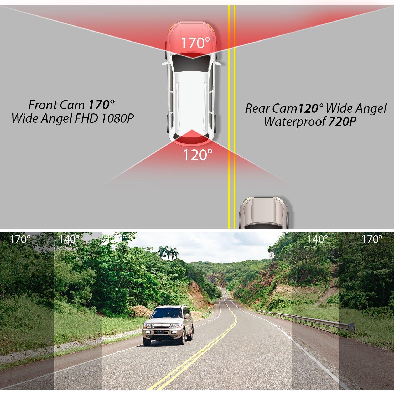 Dash Cam Panlelo D5 Full HD AutoKamera Dashcam WDR G-Sensor Loop Aufnahme Nachtsicht Car Recorder DVR Dashcam HD Dashcam Autokamera Video Recorder mit 170/° Weitwinkelobjektiv