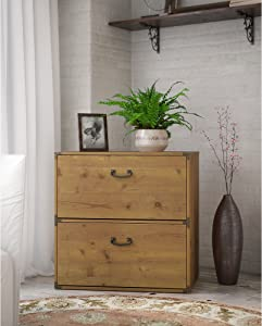 Bush Furniture kathy ireland Home Ironworks Lateral File Cabinet, Vintage Golden Pine