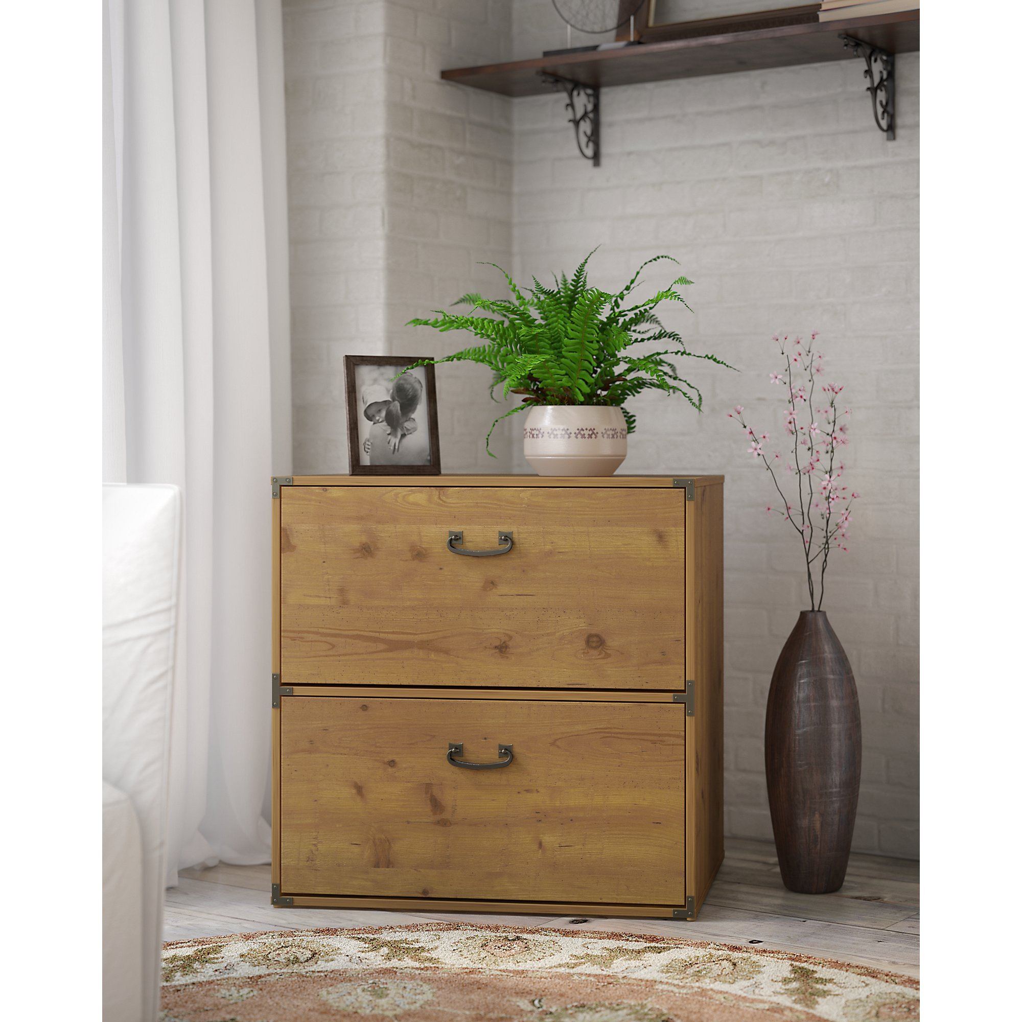kathy ireland Home by Bush Furniture Ironworks Lateral File Cabinet in Vintage Golden Pine by kathy ireland Home by Bush Furniture