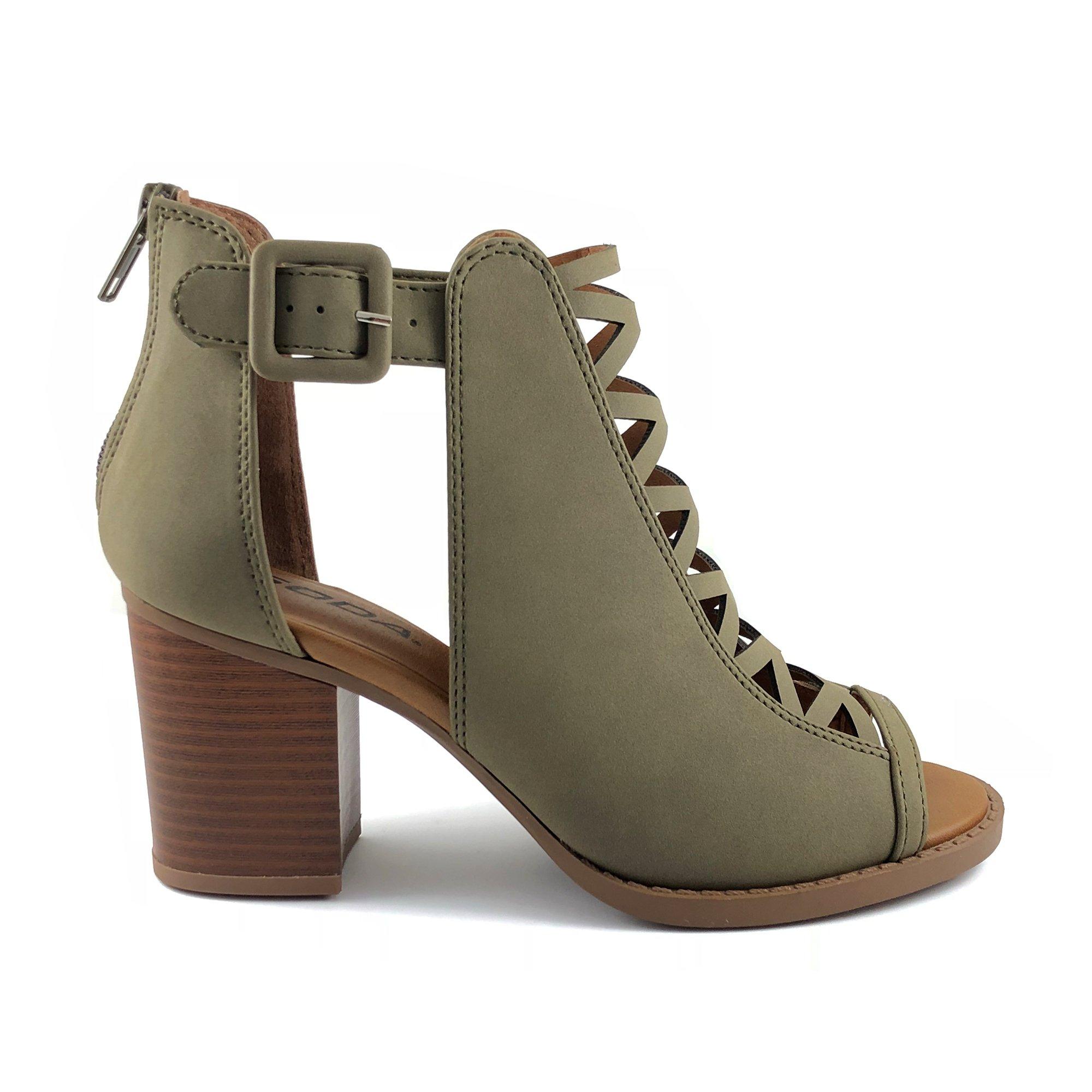 Soda Womens Fahsoin Aran Open Toe Heel Sandal (8 B(M) US, Khaki)