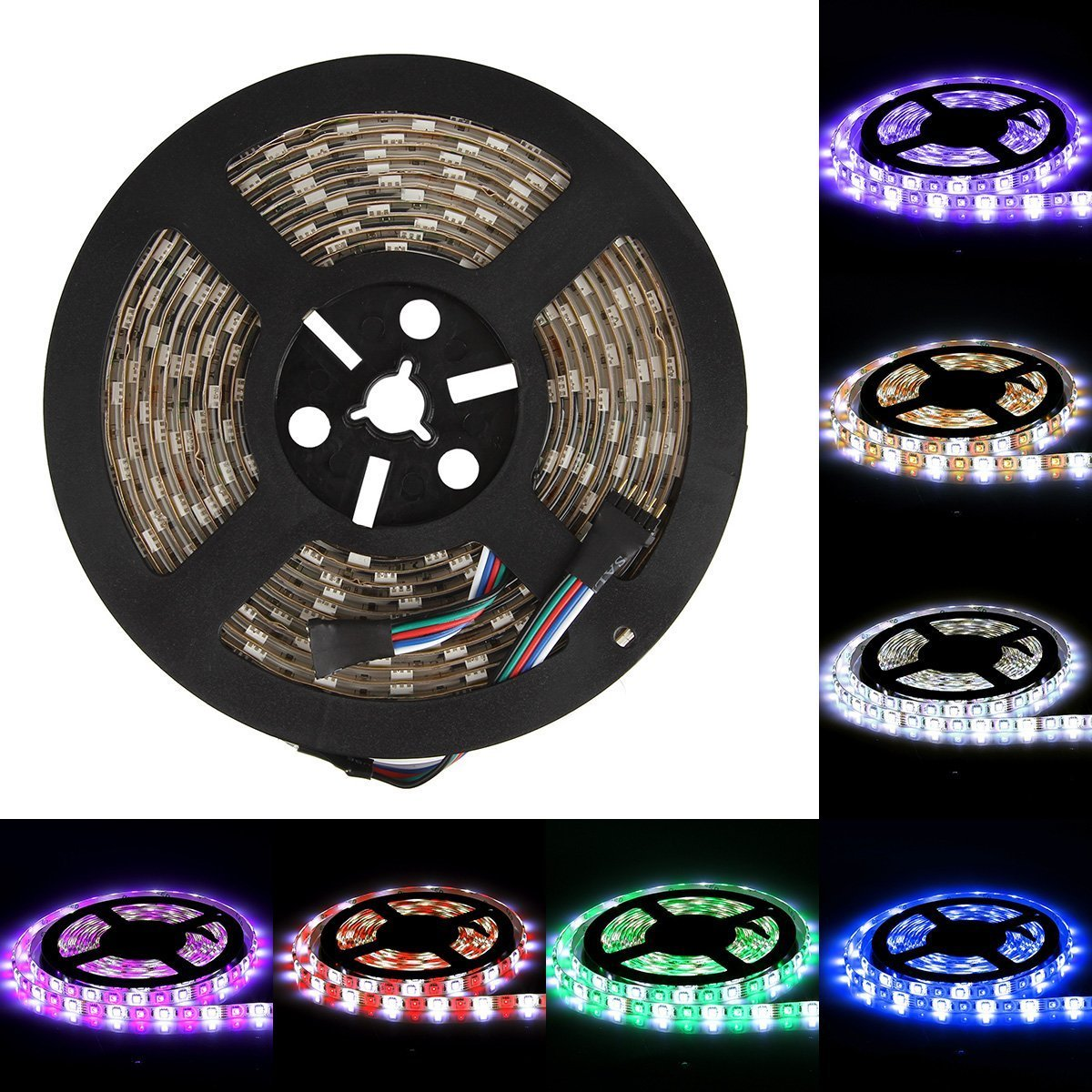 Striscia RGB Supernutlight 12v SMD Strip 5050 Strisce LED Impermeabile IP65 Flessibile 16.4ft//5M 300LEDs per Decorazioni LED Home Solo Strisce LED