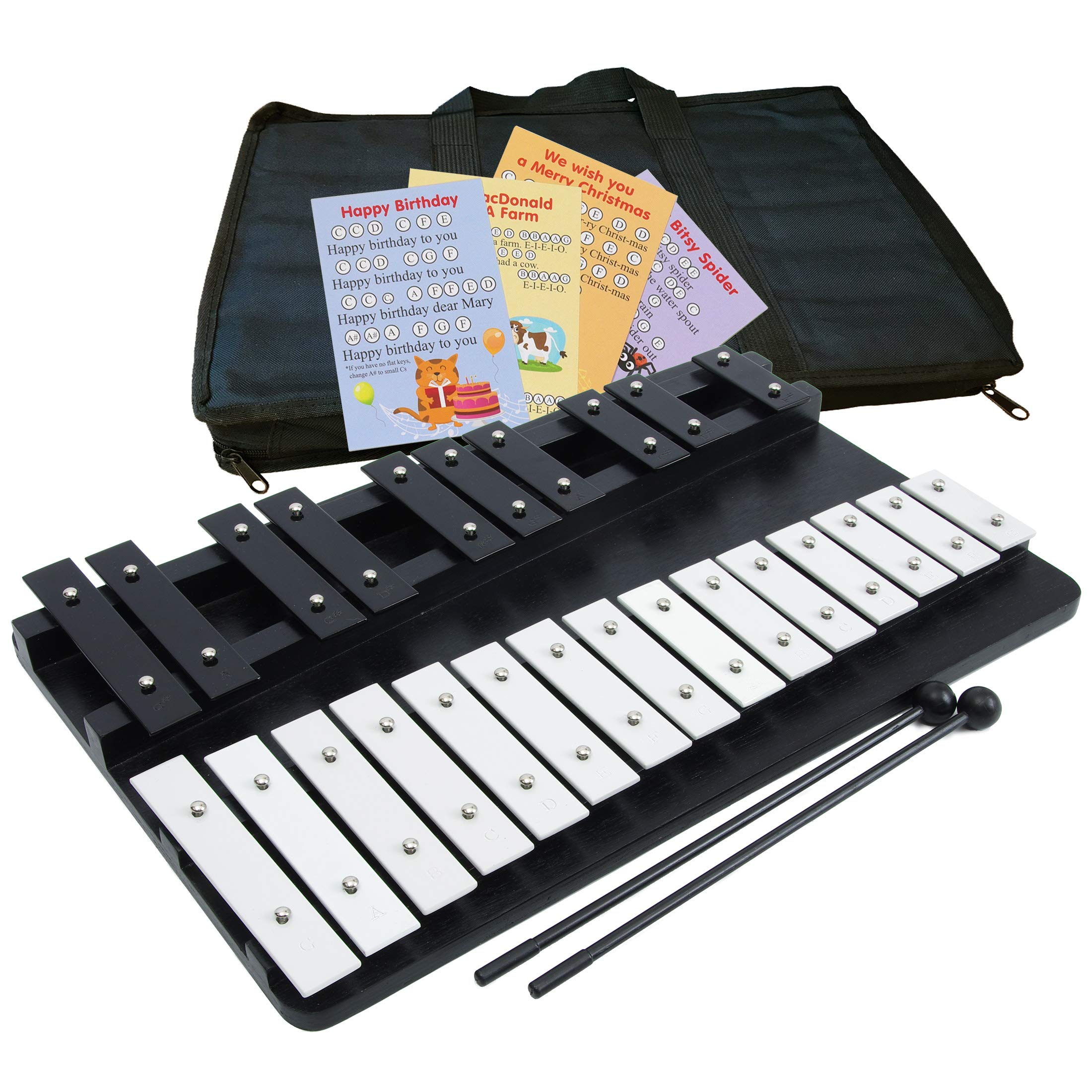Large Xylophone 25 Notes Chromatic Glockenspiel - Bag - Sheet Music Cards
