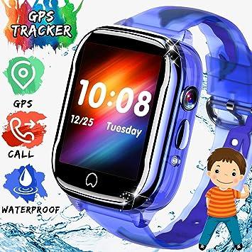 ONMET impermeable relojes inteligentes niños smartwatch, reloj gps niños reloj inteligente niña con GPS, Pantalla Táctil,SOS Calling, Cámara, mensaje ...
