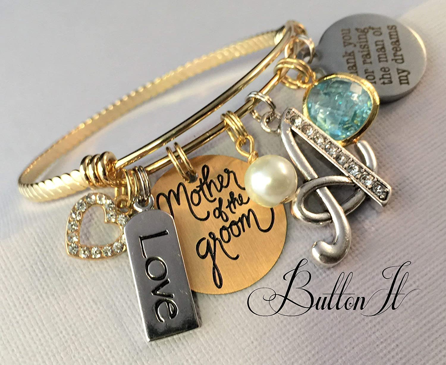 Mother of the GROOM gift Mother in law GOLD bangle bracelet gold wedding jewelry Mother of the Groom wedding bracelet Thank you for raising the man of my dreams charm bracelet