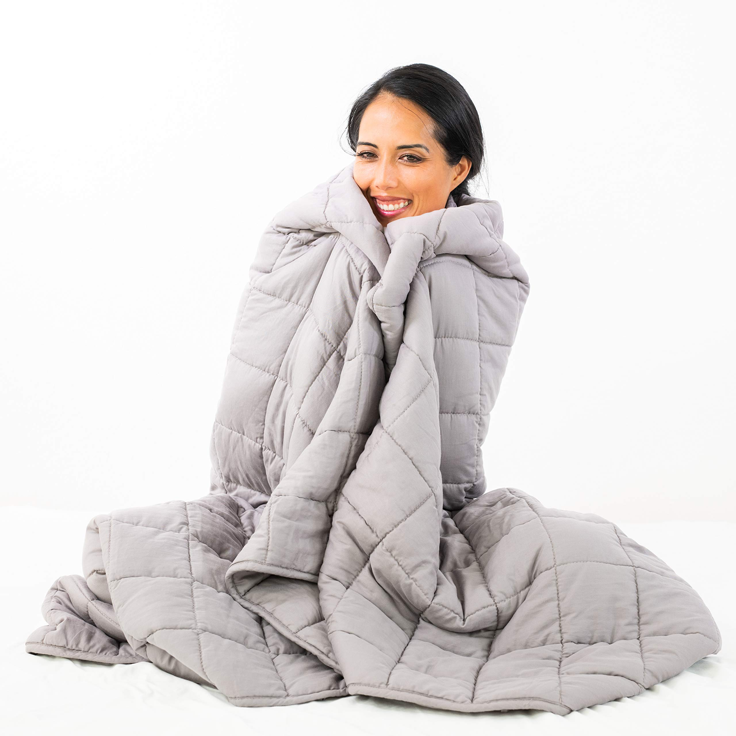 Nuzzie Weighted Blanket - Luxury Quality, Underpriced - Breathable 100% Comfortable Cotton - Even Weight Distribution - Durable Double Stitching (60''x80'' | 15lb, Space Grey)
