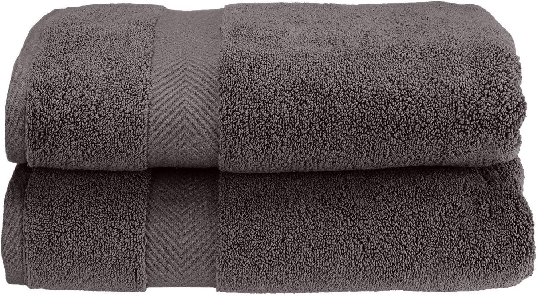 SUPERIOR Zero Twist 100% Cotton Towel Set - 2-Piece Set, Extra Soft Bath Towels, Long-Staple Cotton Towels, Grey