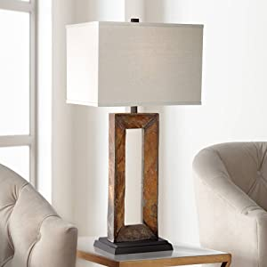 Tahoe Rustic Table Lamp Natural Slate Off White Rectangular Shade for Living Room Family Bedroom Bedside Nightstand - Franklin Iron Works