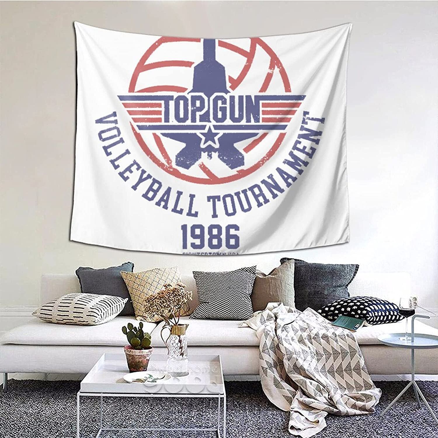 Classic Top Gun Volleyball Tournament Tapestries With Art Nature Home Stylish Wall Hangings Tapestry Bedroom Party Decor (60 X 51 Inch)
