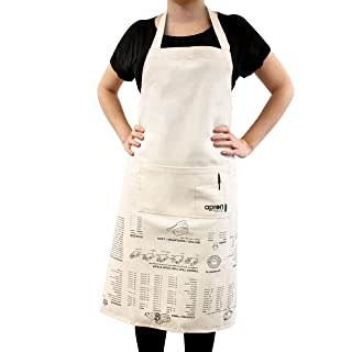 Suck UK Apron Cooking Guide-Full Length and 100% Unbleached Cotton Canvas, Cream