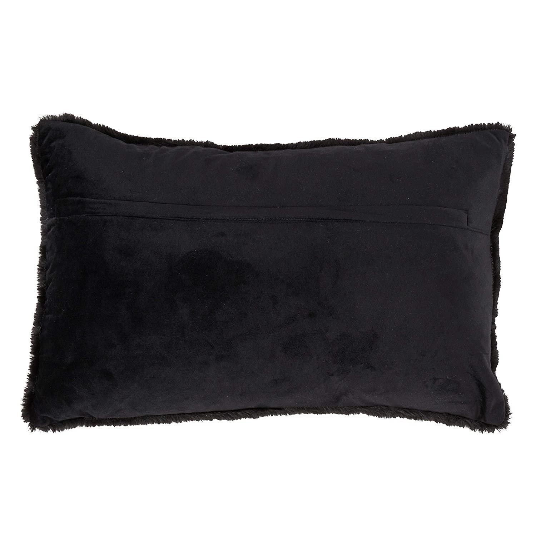 18 SARO LIFESTYLE Toucher Doux Collection Down-Filled Ultra Soft Faux Fur Polyester Throw Pillow Black