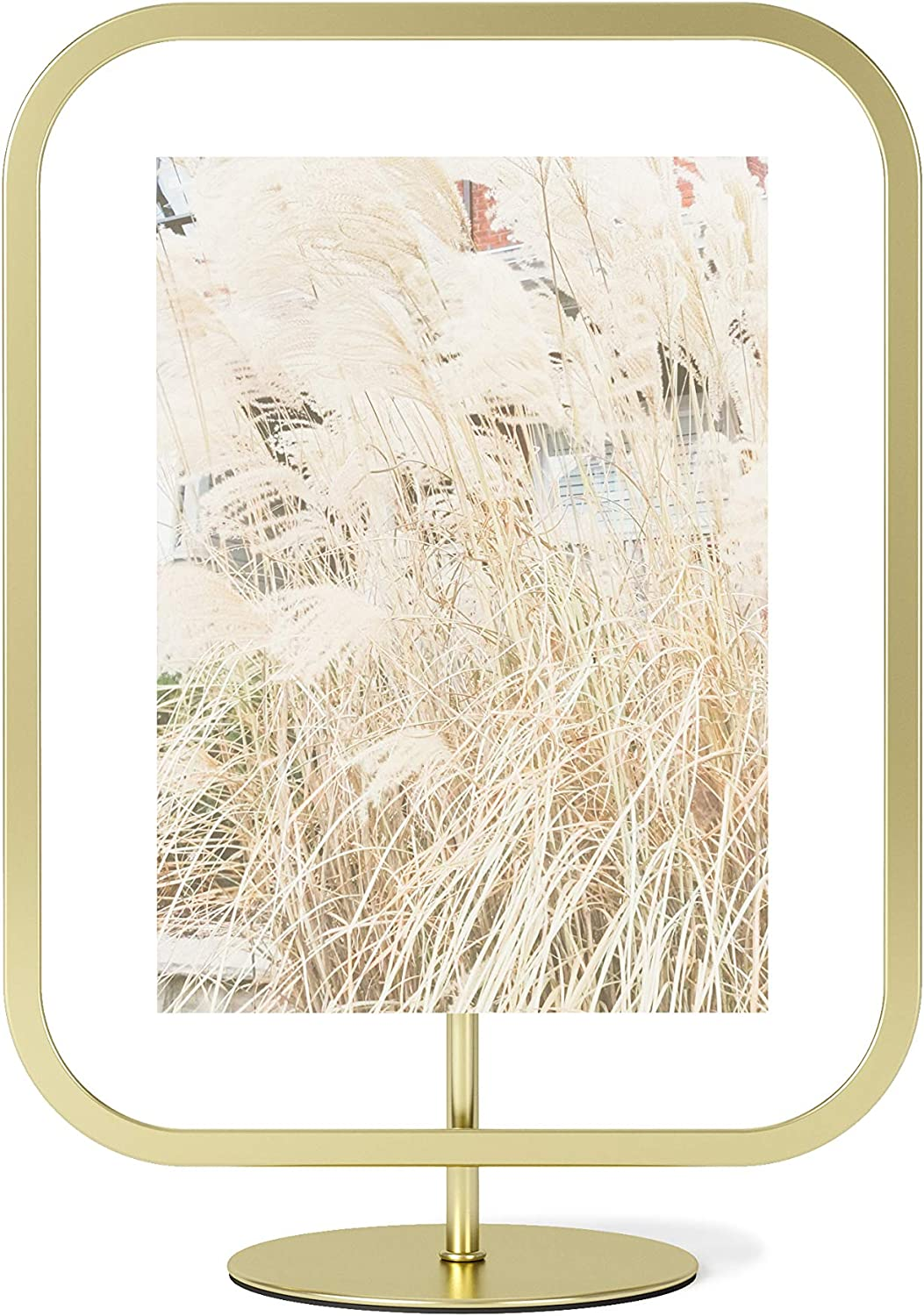 Umbra Infinity Picture Frame, Floating Photo Display for Desk or Wall, 5x7, Brass