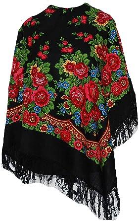 214f532b8d989 Russe Floral folklorique Pavlovo Posad châle écharpe etole foulard de laine  Femme-noir: Amazon.fr: Vêtements et accessoires