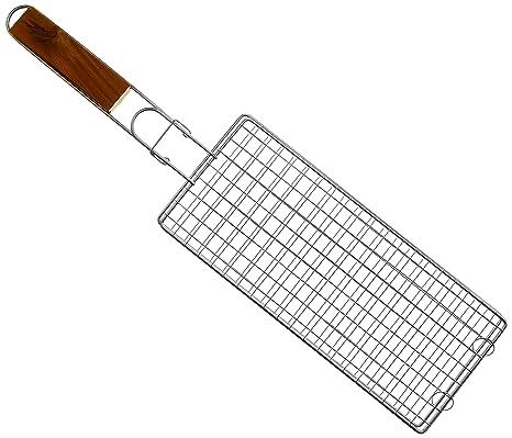 RUECAB 1079 - Parrilla Doble Extensible, Patas de Acero Inoxidable, Mango de Madera, 2 x 17 x 70 cm