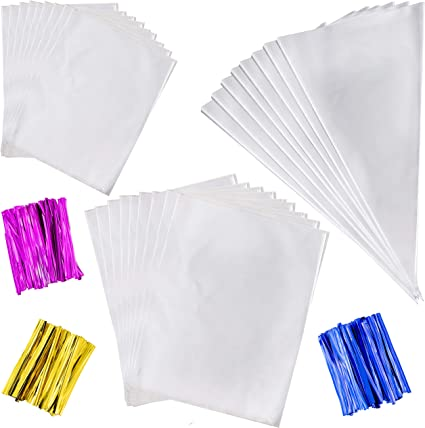 """25 Party Bags With 4/"""" Silver Twist Ties CLEAR Cone Cellophane Cello Sweet"""